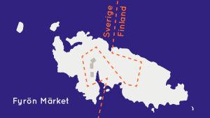 Karta över fyrön Märket: Gränsen mellan Sverige och Finland ringlar sig över ön.