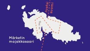 Kartta Märketin majakkasaaresta: Ruotsin ja Suomen valtakunnanraja kulkee rusettimaisesti saaren halki.