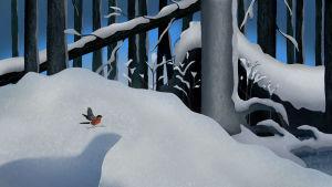 Kuvituskuva KulttuuriCocktailin artikkeliin. Lumi on peittänyt sotilaan ruumiin metsässä, näkyy vain luminen kumpu.