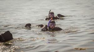Lukiolaiset snorklailevat Dalskär-saarella vedenalaisella veistospolulla.