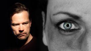 Näyttelijä Carl-Kristian Rundman ja naisen kasvot Emma Ecksteinin piina -kuunnelman kuvituskuvassa.