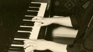 Meri louhos soittaa pianoa.