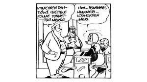 Aku Ankan mallikoulu -sarjakuvassa vuodelta 1974 Aku luettelee kolme merta: Pommeri, Hummeri ja Louhoksen Meri.