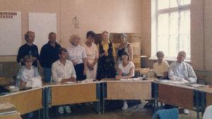 Meri ja venäjänopiskelijoiden ryhmä Dyyneillä Karjalankannaksella.