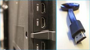 Jaettu kuva: Television takana olevat HDMI-portit sekä Chromecast-mediasoittimen HDMI-pää.