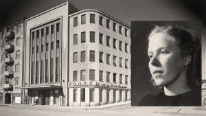 Sibelius-Akatemian rakennus vuonna 1946 ja Meri Louhos 1943.