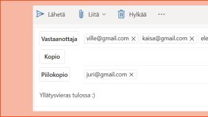 Sähköpostinäkymä.