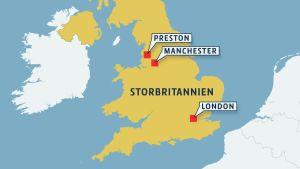 Karta över Storbritannien med Prestons läge