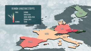 Kartta vehnän ilmastokestävyydestä Euroopassa.