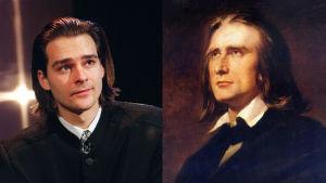 Unkarilaiset pianistit Gergely Bogány ja Franz Liszt vierekkäin.
