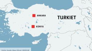 Karta över Turkiet med städerna Ankara och Konya.