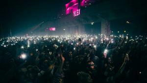 Yleisö valaisee Gasellien keikan älypuhelimien salamavaloilla.