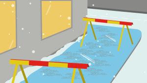 Grafiikka: varoituspuomeja jäisellä pihakäytävällä rakennuksen edessä.
