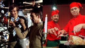 Tv-kokit Jaakko Kolmonen, Veijo Vanamo, Timo Nykyri ja Janne Pekkala jouluvalmisteluissa.