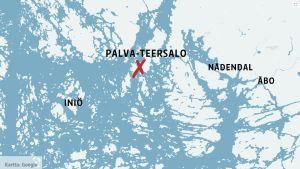Karta över skärgården utanför Nådendal.