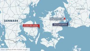 Karta på var Stora bältbron ligger.