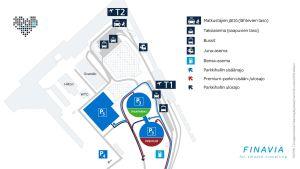 Karta över trafikarrangemangen vid Helsingfors-Vanda flygplats, medan bygget pågår.