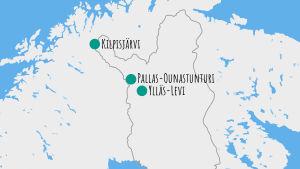 Lumivyöryn riskialueet Suomessa.