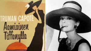 Kuvassa Aamiainen Tiffanylla kirjan kansi sekä elokuvassa näyttelevä Audrey Hepburn.