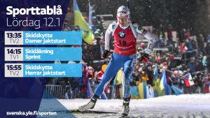 Sporttablå lördag 12.1.