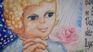 tecknad bild på barn som ber