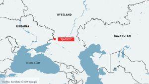 Karta där staden Sjachty i södra Ryssland är markerad.