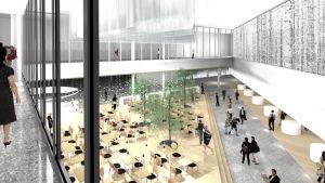 Illustrationsbild på en ny terminaldel på Helsingfors-Vanda flygplats som öppnar i februari.