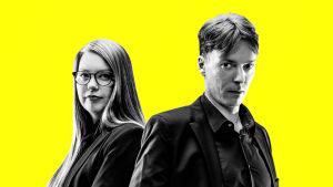 Politiikkaradion promokuva. Kuvassa Linda Pelkonen ja Tapio Pajunen.