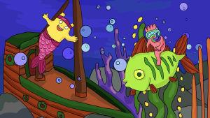 De animerade Hoppsorna är under vattnet. Den gula är en sjöjungfru vid ett sjunket skepp och den pinka rider med snorkel på en grön fisk.