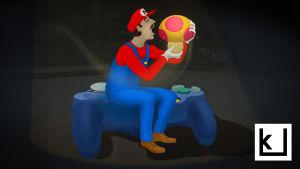 Kuvituskuva Kulttuuricocktailin artikkeliin videopeleistä. Kuvassa videopelihahmo syö sienen.