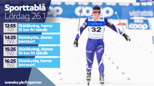 Yle Sportens TV-utbud lördagen 26.1.