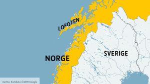 Karta över norra Norge, Sverige och dekar av norra Finland
