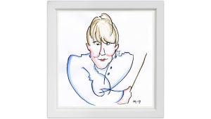 Lassi Rajamaan piirros kapellimestari Susanna Mälkistä.