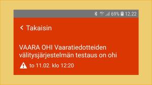 Kuvakaappaus: 112 Suomi -sovelluksen asetuksissa näkyvät alueelliset vaaratiedotteet (kuvassa 0 kpl).