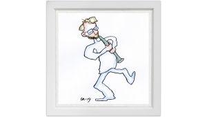 Lassi Rajamaan piirros klarinetisti Kari Kriikusta.