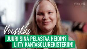 Heidi Lindholm ja teksti: Voisitko juuri sinä pelastaa Heidin? Liity Kantasolurekisteriin!