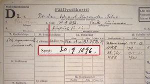 Felix Kerstenin päällystökortti.
