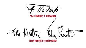 Signatures of Felix Kersten and Felix Huberti.