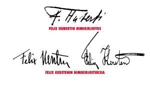 Felix Kerstenin ja Felix Hubertin allekirjoituksia.