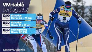 VM-tablå lördag 23.2.