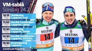 VM-tablå söndag 24.2.