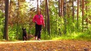 Nainen on koiran kanssa lenkillä metsässä.