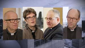 Bilder av de fyra biskopskandidaterna bredvid varandra.