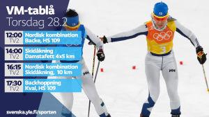 VM-tablå torsdag 28.2.