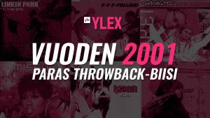Kuvassa teksti Vuoden 2001 Paras Throwback-biisi ja taustalla singlekappaleiden kansikuvia.