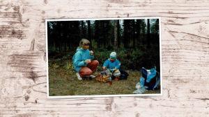 Anna-Maja Henriksson pienen tyttärensä kanssa sienimetsässä vuonna 1994