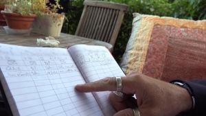 Anders hand pekar på kvinnors namn i hans anteckningsbok.
