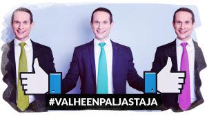 Sama mies erivärisissä kravateissa, keskimmäisen kädet on korvattu Facebook-peukaloilla.