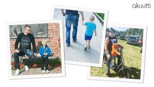 Kolme kotialbumin kuvaa, joissa isä ja pieni poika.