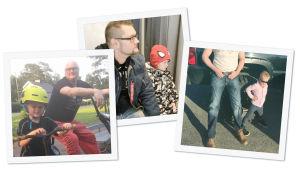 Turo Tuominen ja poika, kotialbumikuvien kollaasi